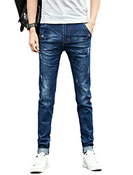 Men's Mid Rise Micro-elastic Skinny Jeans PantsSimple Slim Solid UK-967