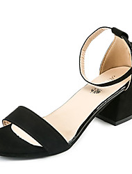 Women's Sandals Comfort Basic Pump Spring Summer PU Office & Career Dress Party & Evening Buckle Chunky Heel Black Gray 2in-2 3/4in