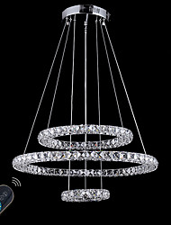 cheap -Circular Chandelier Ambient Light - Crystal, Adjustable, Dimmable, 110-120V / 220-240V, Dimmable With Remote Control, LED Light Source