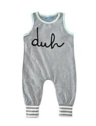 billige -Baby Drenge Trykt mønster Uden ærmer Bomuld Overall og jumpsuit