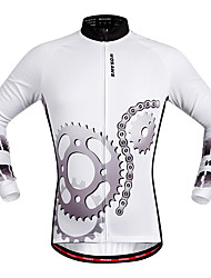 cheap -WOSAWE Long Sleeves Cycling Jersey - White Bike Jersey, Quick Dry