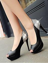 preiswerte -Damen Schuhe Kunstleder Frühling Sommer Komfort High Heels Stöckelabsatz Peep Toe Für Normal Weiß Schwarz Rot