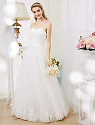 cheap -Princess Sweetheart Floor Length Lace Tulle Custom Wedding Dresses with Criss-Cross Ruched by LAN TING BRIDE®