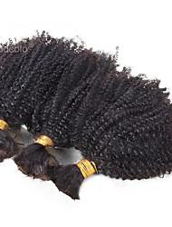 Afro Kinky Curly Human Hair Bulk 1 Piece Brazilian Virgin Hair No Weave Natural Color Afro Curly Bulk Hair For Black Women