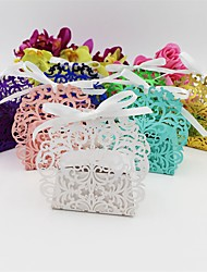 cheap -50pcs Lace Wedding Box Flower Candy Box Wedding Decor