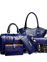 preiswerte -Damen Taschen PU Bag Set 6 Stück Geldbörse Set für Veranstaltung / Fest Normal Formal Ganzjährig Schwarz Rote Aquamarin Gelb Fuchsia