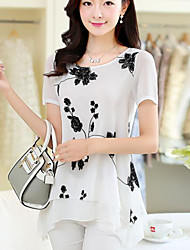 Women's Work Cute Summer Blouse,Solid Embroidery Round Neck Short Sleeves Cotton