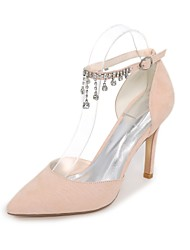cheap -Women's Shoes Flocking Spring / Summer Basic Pump Heels Stiletto Heel Pointed Toe Chain Green / Blue / Almond / Party & Evening / Dress