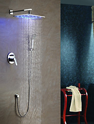 cheap -Contemporary LED Wall Mounted Rain Shower Handshower Included Ceramic Valve Chrome , Shower Faucet
