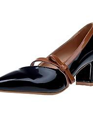 Women's Heels Light Soles Fall Winter PU Casual Dress Bowknot Block Heel Almond Black 1in-1 3/4in