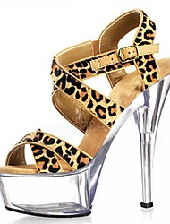 Women's Sandals Formal Shoes Summer Flocking Dress Party & Evening Buckle Animal Print Stiletto Heel Black Clear 5in & over