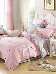cheap -Duvet Cover Sets Stripe 4 Piece Cotton Fibre Reactive Print Cotton Fibre 1pc Duvet Cover 2pcs Shams 1pc Flat Sheet