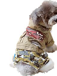 economico -Cane Tuta Abbigliamento per cani Casual Lettere & Numeri Verde cacciatore Cachi Costume Per animali domestici