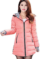 Women's Long Padded Coat,Simple Casual/Daily Solid-Cotton Polypropylene Long Sleeve