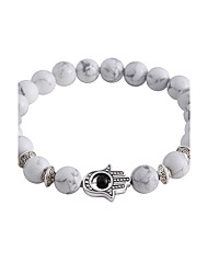 Lureme Men Women 8MM Round White Turquoise Beads Bracelet with Hamsa Hand Jewelry