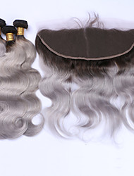 cheap -Brazilian Hair Body Wave Hair Weft with Closure Human Hair Weaves Hot Sale / 8a Black / Grey Human Hair Extensions