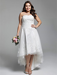 cheap -A-Line Strapless Asymmetrical Lace Tulle Custom Wedding Dresses with Beading Appliques Ruched by LAN TING BRIDE®