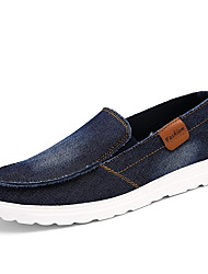 cheap -Men's Loafers & Slip-Ons Comfort Spring Fall Denim Casual Outdoor Office & Career Flat Heel Gray Dark Blue Black Flat