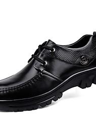 Da uomo Oxfords Comoda Scarpe formali Scarpe da immersione Primavera Autunno Pelle Nappa Casual Lacci Piatto Quadrato Nero Piatto