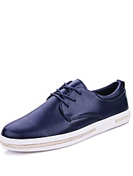 cheap -Men's Oxfords Driving Shoes Comfort Light Soles Real Leather PU Leather Spring Fall Casual Office & Career Lace-up Flat HeelBlue Brown