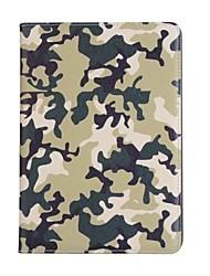 Pour Apple ipad (2017) 9.7 porte-carte de couverture de boîtier avec boîtier de corps plein couleur camouflage cuir dur pu pour ipad air 2