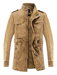 Men's Daily Vintage Winter Fall Leather Jacket,Solid Stand Long Sleeve Long PU