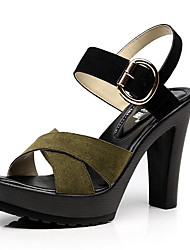 cheap -Women's Sandal Novelty Spring Summer Fall Winter Leather Office & Career Party & Evening Dress Buckle Wedge Heel Khaki Green Black 3in-3