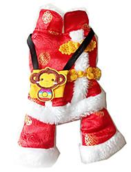 Недорогие -Собака Жилет Одежда для собак Теплый Новый год Вышивка Костюм Для домашних животных