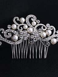 Women's Pearl Rhinestone Alloy Headpiece-Wedding Special Occasion Casual Tiaras Headbands 1 Piece