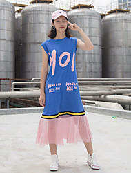 Women's Casual/Daily Simple T-shirt,Letter Round Neck Sleeveless Cotton