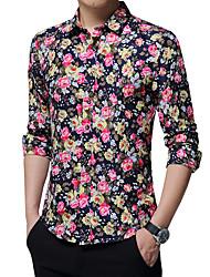 cheap -Men's Party Vintage Cute Boho Plus Size Cotton Shirt - Floral, Jacquard