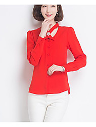 Women's Party Casual/Daily Cute Spring Summer Blouse,Solid V Neck Long Sleeve Cotton