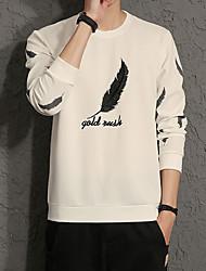 Men's Plus Size Casual Slim Feathers Letter Printed Sweatshirts Cotton Spandex