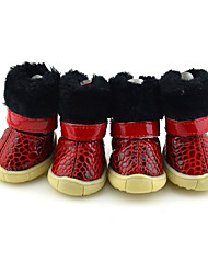 cheap -Dog Boots / Shoes Casual/Daily Waterproof Keep Warm Snow Boots Solid Black Red Blue For Pets