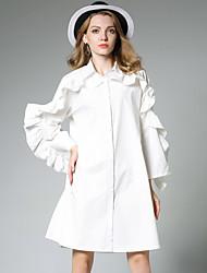 JIANRUYI Women's Casual/Daily Simple Shirt DressSolid Shirt Collar Above Knee Long Sleeves Cotton Fall Mid Rise Inelastic Medium