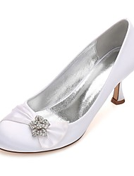 Women's Wedding Shoes Comfort Basic Pump Spring Summer Satin Wedding Dress Party & Evening Rhinestone Bowknot Sparkling Glitter Ribbon