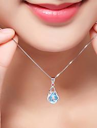 Недорогие -Жен. Синтетический алмаз Геометрический принт Ожерелья с подвесками - Стерлинговое серебро, Циркон Роскошь, Классика, Богемные Многодорожечная одежда Белый Ожерелье Бижутерия Назначение