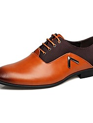 cheap -Men's Shoes Leather Spring Fall Formal Shoes Comfort Oxfords Lace-up for Casual Office & Career Black Yellow Brown