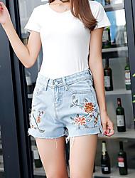 cheap -Women's High Rise Micro-elastic Slim Jeans Shorts Pants,Casual Floral Summer