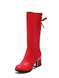cheap -Women's Shoes Leatherette Fall Winter Riding Boots Fashion Boots Boots Walking Shoes Chunky Heel Round Toe Mid-Calf Boots Zipper Lace-up