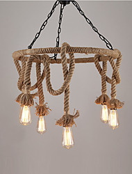 cheap -Vintage Industrial Hemp Rope Pendant Lamp with 6-Lights Chandelier Living Room Dining Room Light Fixture