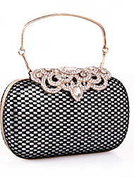 Women Bags All Seasons leatherette Clutch with Rhinestone Lace for Wedding Event/Party Formal Gold Silver