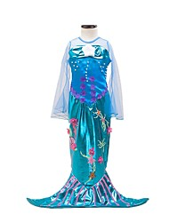 Princess Mermaid Tail Fairytale Cosplay One Piece Dress Kids Girls' Halloween Carnival Festival / Holiday Halloween Costumes Ocean Blue