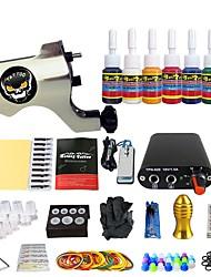 Kit de tatuagem Inicial 1xMáquina Tatuagem de ferro fundido para linhas e sombras Máquina de tatuagem Fonte de Alimentação mini 7 × 5ml