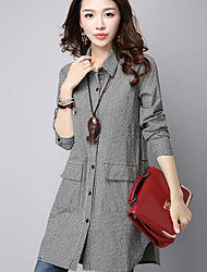 cheap -Women's Daily Casual Shirt,Check Shirt Collar Long Sleeves Cotton