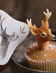 cheap -3D Stag's Head Mold Christmas Deer Fondant Cake Silicone Moulds Soap Cupcake Baking Tools Chocolate Cutters Molds