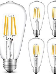cheap -5pcs 4W 360 lm E27 LED Filament Bulbs ST64 4 leds COB Decorative Warm White Cold White AC 220-240V