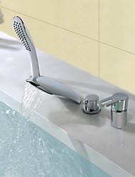 Недорогие -Современный Разбросанная Водопад Ручная лейка входит в комплект Керамический клапан Одной ручкой четыре отверстия Хром , Смеситель для