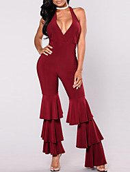 cheap -Women's Daily / Going out / Club Jumpsuit - Solid Colored, Backless / Ruffle High Rise Halter Neck / Spring / Summer / Ruffles and Frills