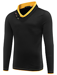 Men's Sports Going out Simple Street chic Sweatshirt Color Block Cut Out Stand Micro-elastic Cotton Long Sleeve Spring Fall